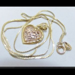 14k stamped gold heart necklace